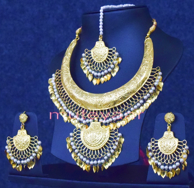 09bdfe9695479 Gold Plated Traditional Punjabi Handmade jewellery Hasli Necklace Earrings  Tikka set J0252 - www.muteyaar.com