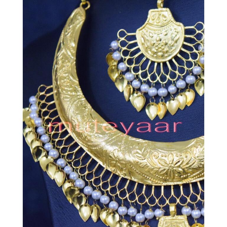 Gold Plated Traditional Punjabi Handmade jewellery Hasli Necklace Earrings Tikka set J0252