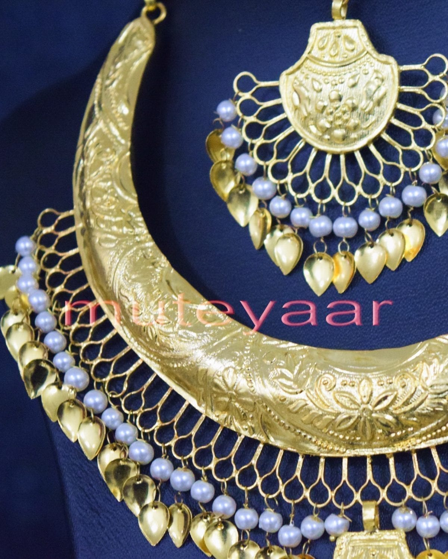 Gold Plated Hasli Necklace Set Traditional Punjabi jewellery J0252 3