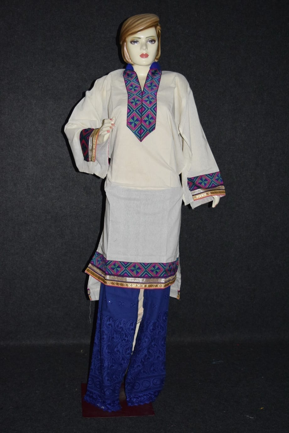 Semi Stitched M/C embroidered Cotton Parallel Pants kameez Suit M0325 1