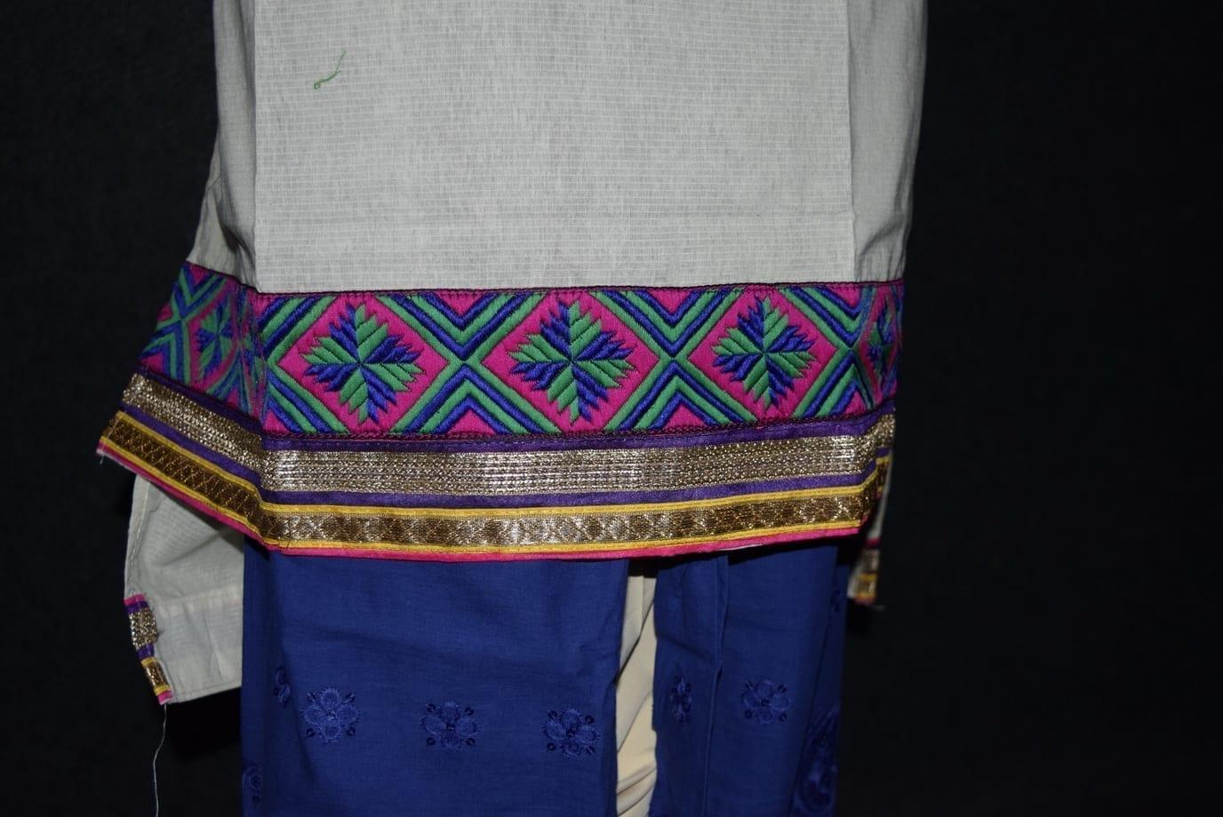 Semi Stitched M/C embroidered Cotton Parallel Pants kameez Suit M0325
