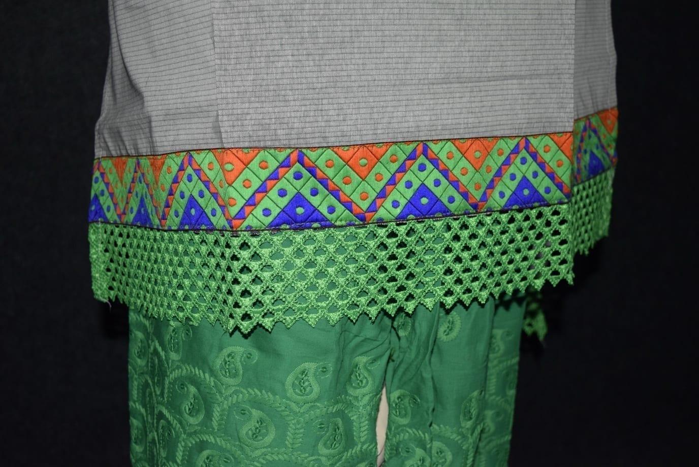Semi Stitched M/C embroidered Cotton Parallel Pants kameez Suit M0326