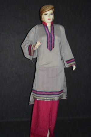Semi Stitched M/C embroidered Cotton Parallel Pants kameez Suit M0327