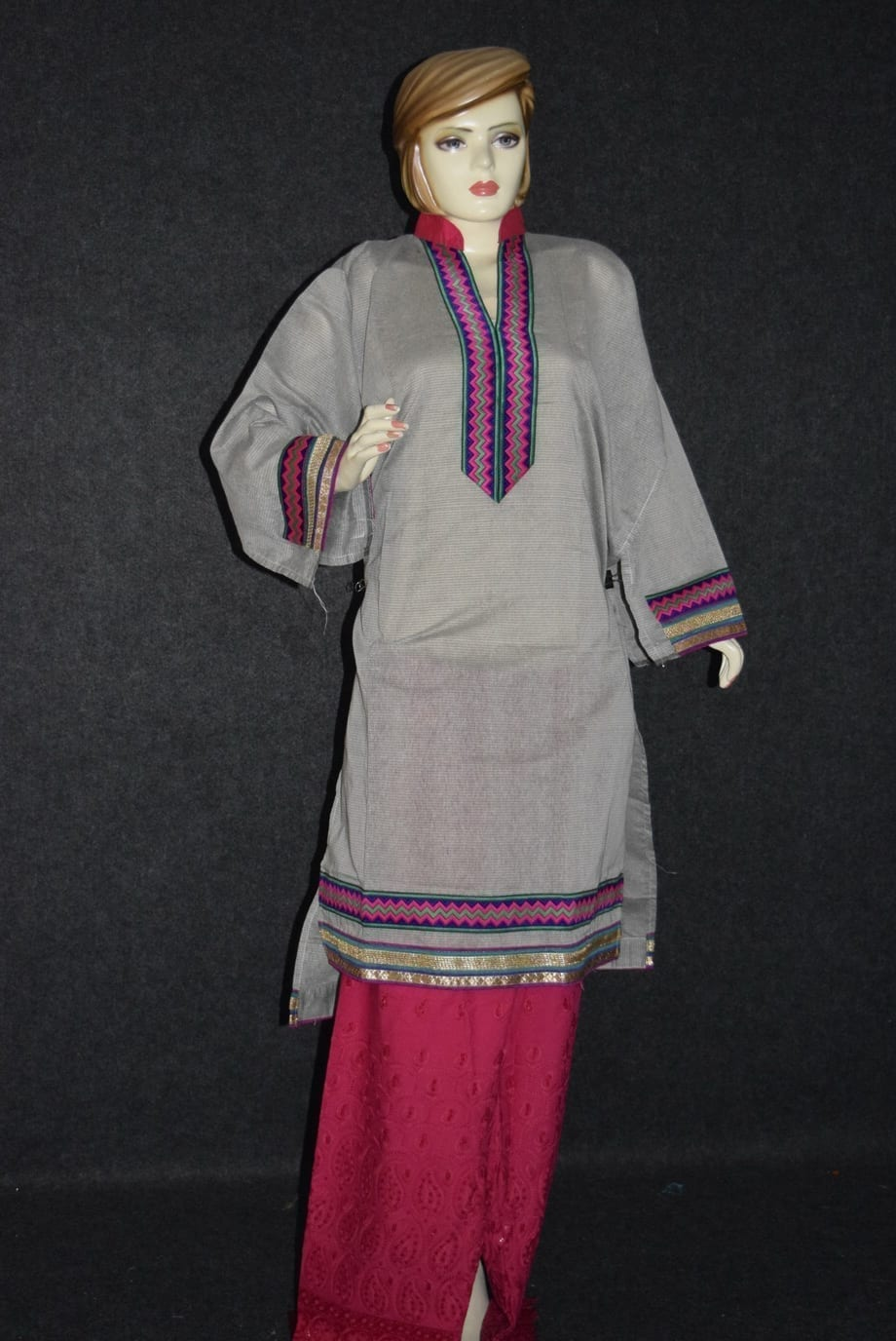 Semi Stitched M/C embroidered Cotton Parallel Pants kameez Suit M0327