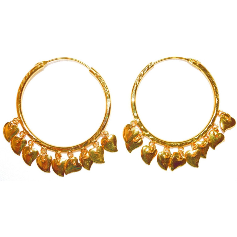 Gold Polished Ear Rings Baliyyan set with Golden Pattiyaan J0122