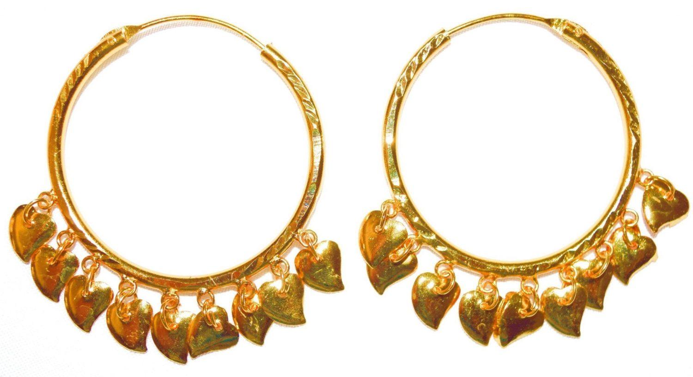 Gold Polished Ear Rings Baliyaan with Golden Pattiyaan J0122 1