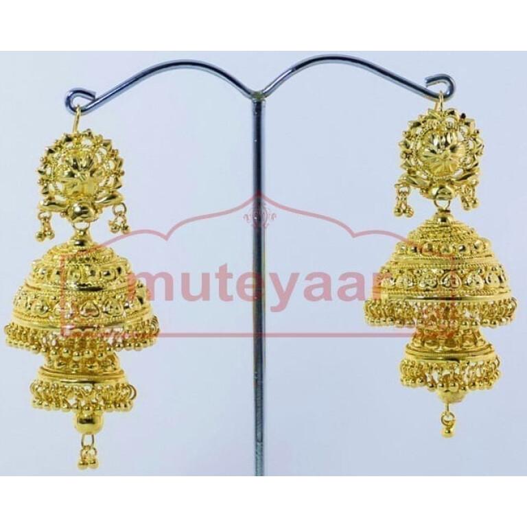 Gold Plated Punjabi Traditional Jewellery Earrings Jhmki Dangles J0261