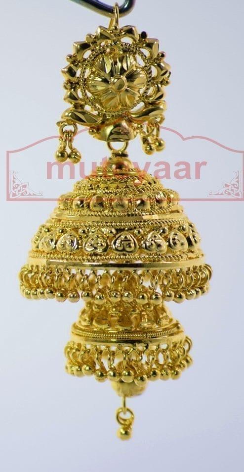 Gold Plated Punjabi Traditional Jewellery Earrings Jhmki Dangles J0261 2