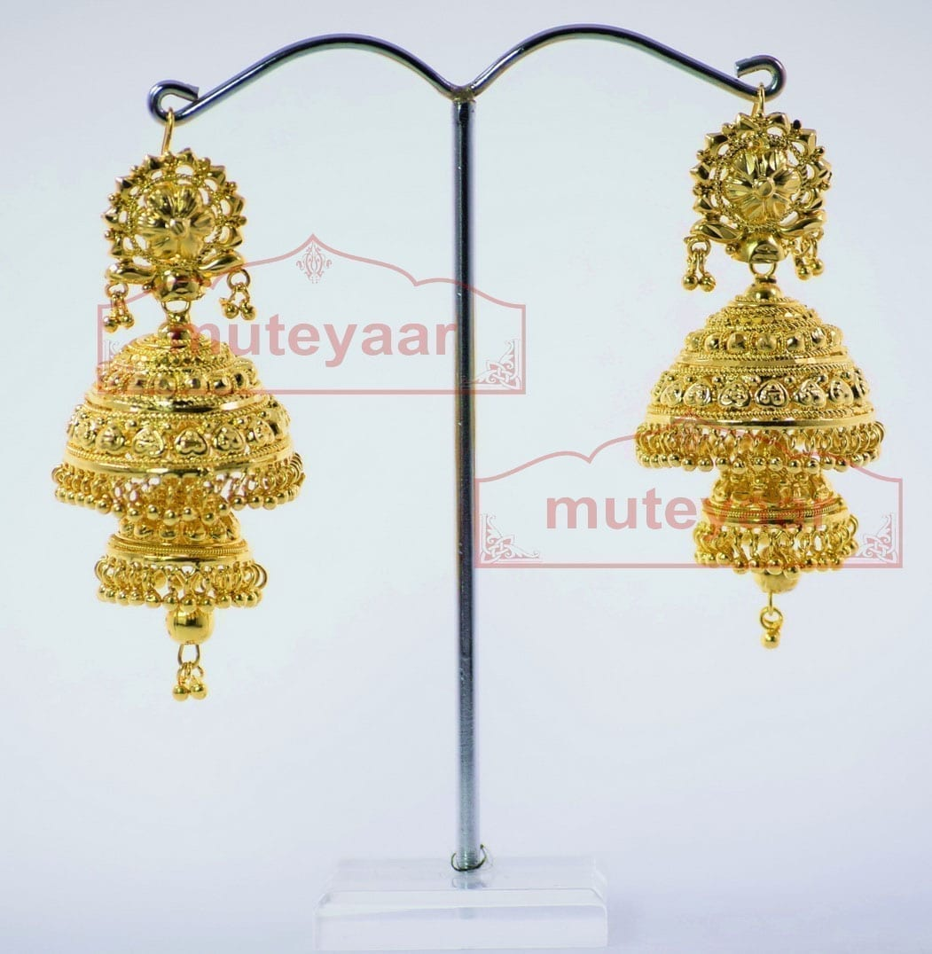 Gold Plated Punjabi Traditional Jewellery Earrings Jhmki Dangles J0261 3