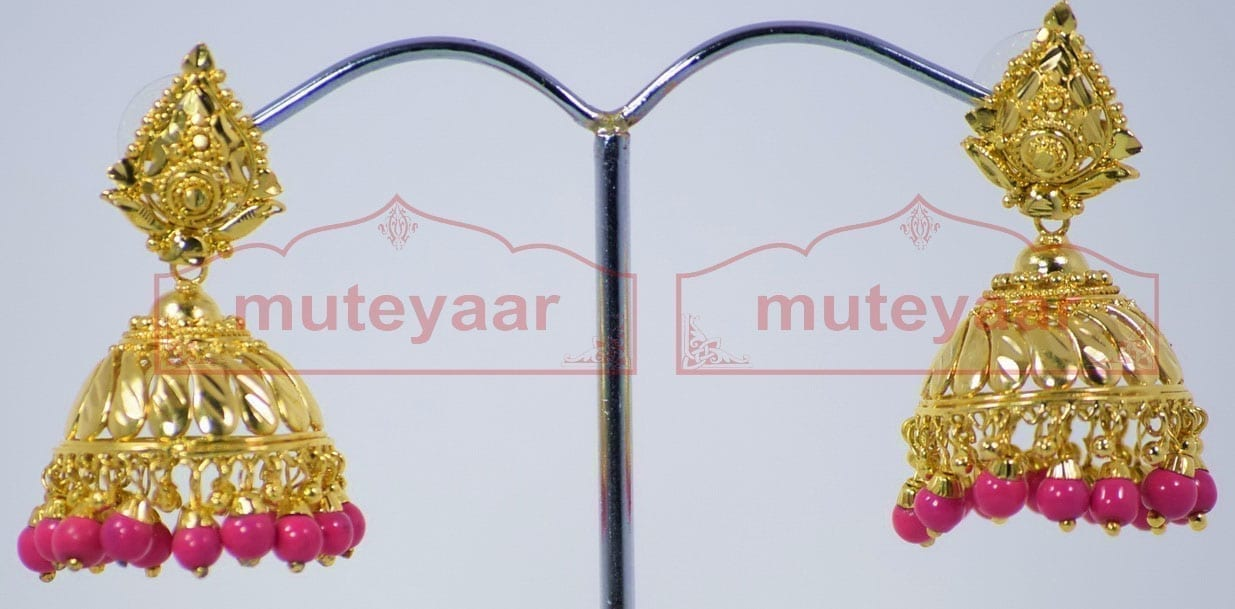 Magenta Beads Gold Plated Punjabi Traditional Jewellery Earrings Jhmki J0263 1