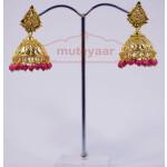 Magenta Beads Gold Plated Punjabi Traditional Jewellery Earrings Jhmki J0263