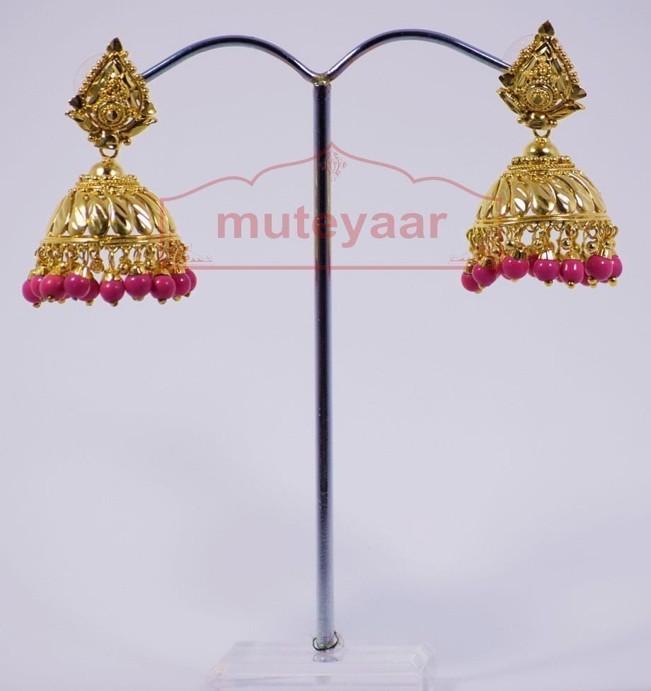 Magenta Beads Gold Plated Punjabi Traditional Jewellery Earrings Jhmki J0263 2
