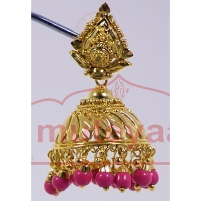 Magenta Beads Gold Plated Punjabi Traditional Jewellery Earrings Jhmki J0263