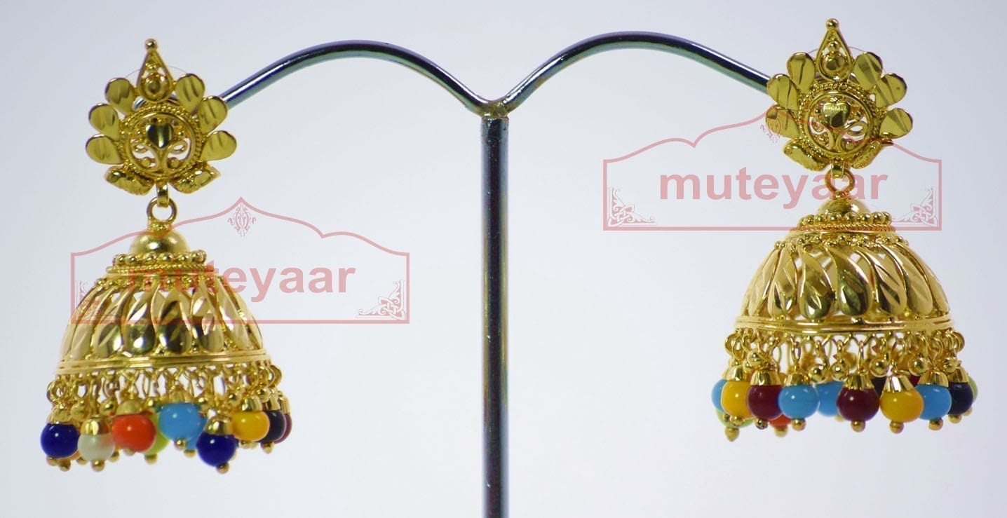 Muticolor Beads Gold Plated Punjabi Traditional Jewellery Earrings Jhmki J0265 1