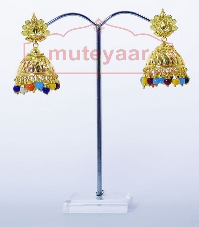 Muticolor Beads Gold Plated Punjabi Traditional Jewellery Earrings Jhmki J0265 2