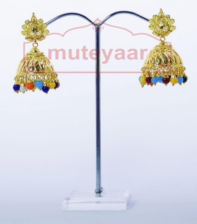 Muticolor Beads Gold Plated Punjabi Traditional Jewellery Earrings Jhmki J0265 2
