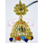 Muticolor Beads Gold Plated Punjabi Traditional Jewellery Earrings Jhmki J0265