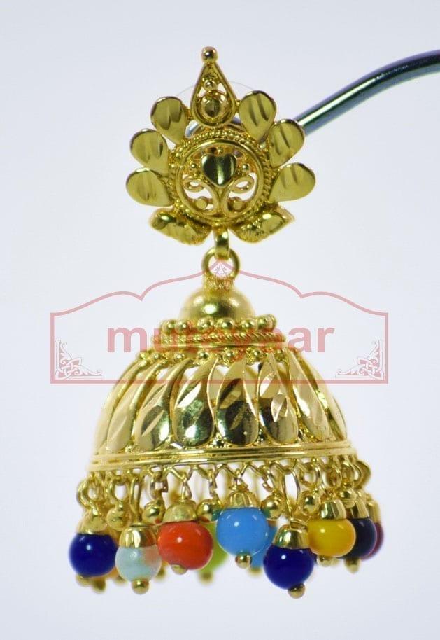 Muticolor Beads Gold Plated Punjabi Traditional Jewellery Earrings Jhmki J0265 3