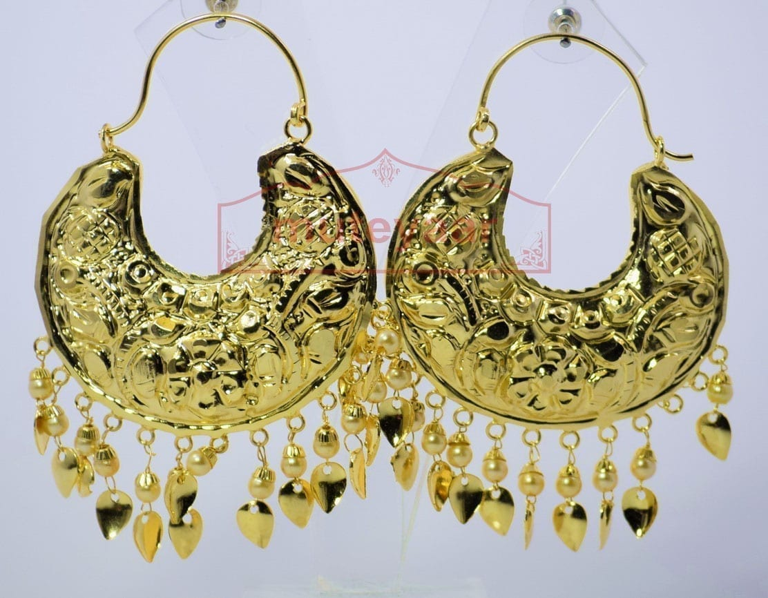 Thappa Work Gold Plated Punjabi Traditional Jewellery Earrings set J0268 1