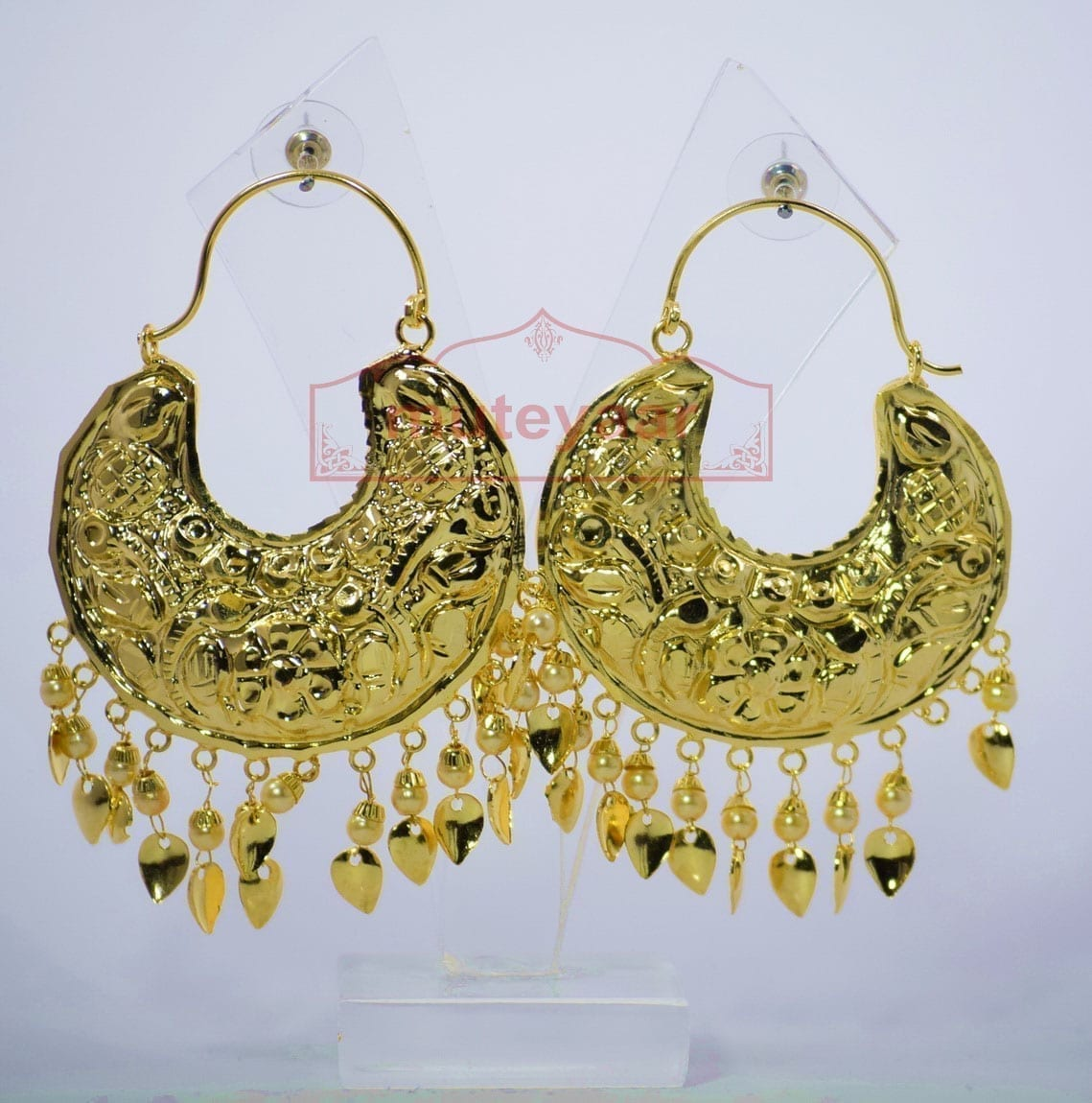 Thappa Work Gold Plated Punjabi Traditional Jewellery Earrings set J0268 2