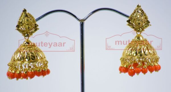 Orange Beads Gold Plated Punjabi Traditional Jewellery Earrings Jhmki J0279
