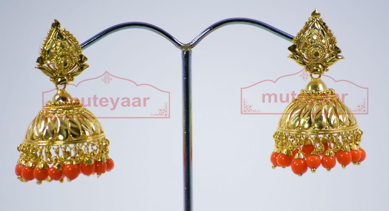 Orange Beads Gold Plated Punjabi Traditional Jewellery Earrings Jhmki J0279 1