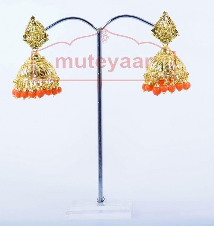 Orange Beads Gold Plated Punjabi Traditional Jewellery Earrings Jhmki J0279 2