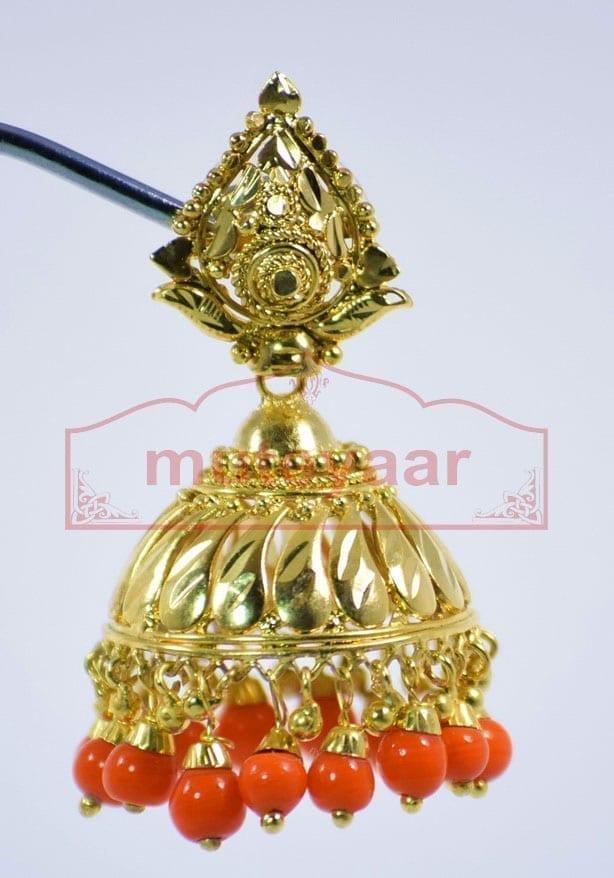 Orange Beads Gold Plated Punjabi Traditional Jewellery Earrings Jhmki J0279 3