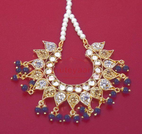 Kundan Work Gold Polish Traditional Punjabi Jewellery Earrings Tikka set J0280