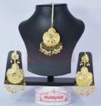 White Beads Gold Polish Thappa Traditional Punjabi Jewellery Earrings Tikka set J0284