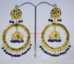 Blue Beads Gold Plated Punjabi Traditional Jewellery Earrings Long Jhumka J0285