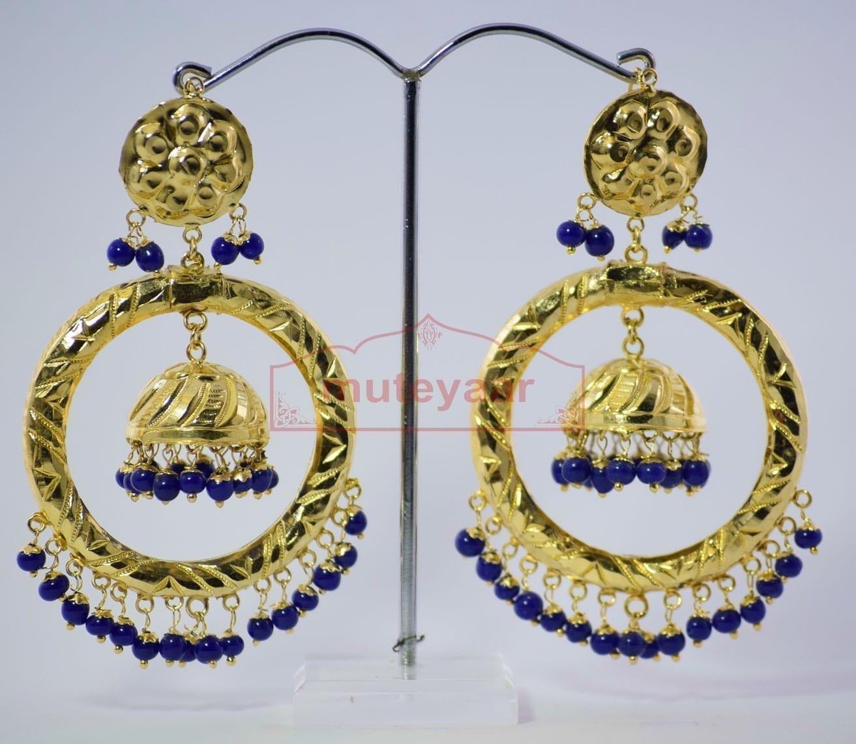 Blue Beads Gold Plated Punjabi Traditional Jewellery Earrings Long Jhumka J0285 1