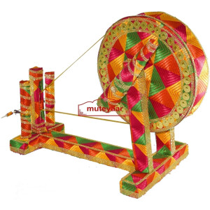 GIDDHA  prop – PHULKARI decorated CHARKHA (size 2.5 ft)