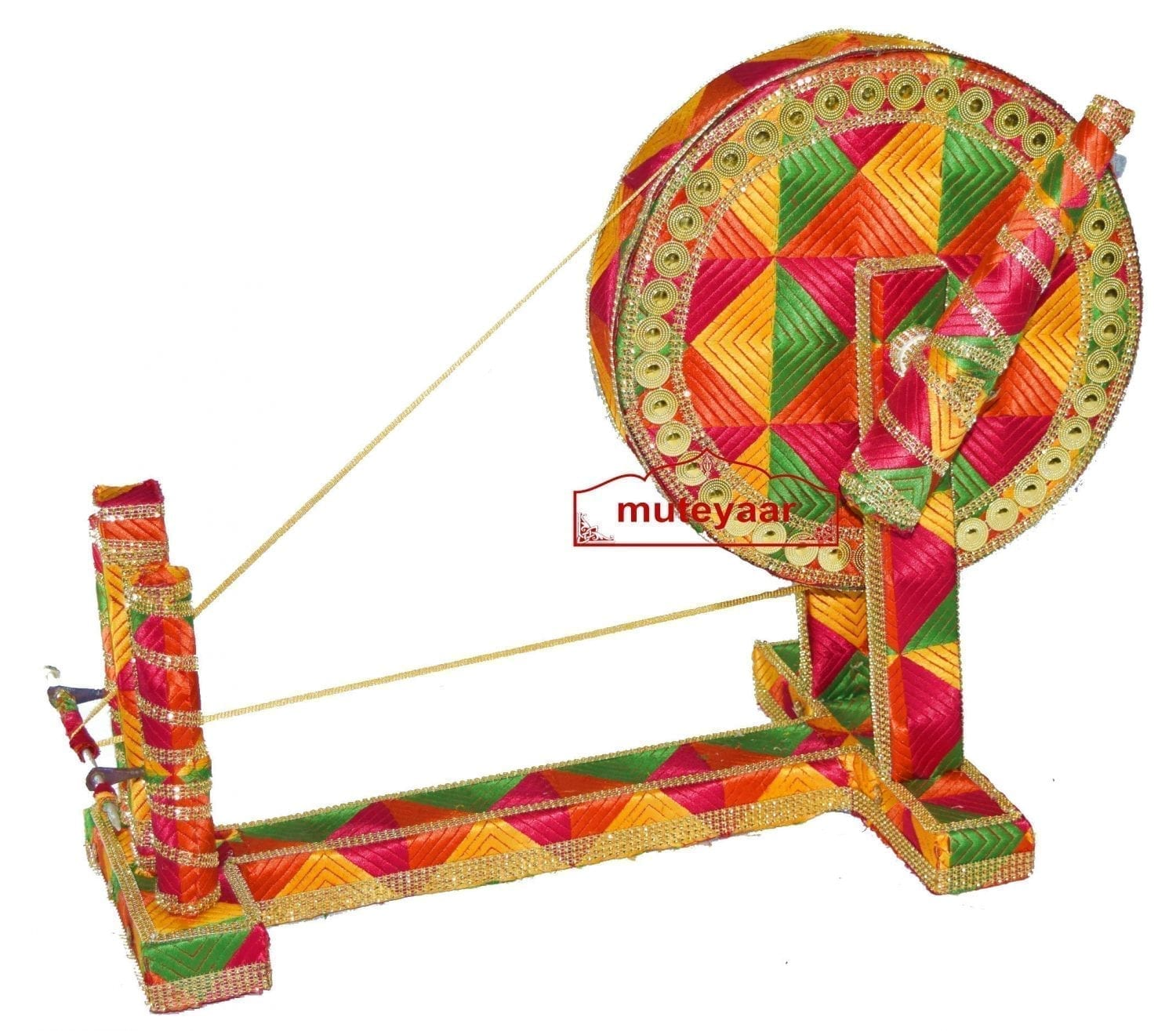 GIDDHA  prop - PHULKARI decorated CHARKHA (size 2.5 ft) 2