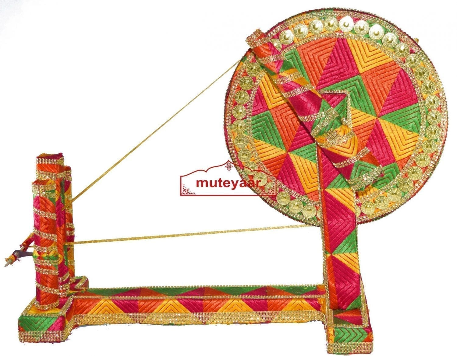 GIDDHA  prop - PHULKARI decorated CHARKHA (size 2.5 ft) 3