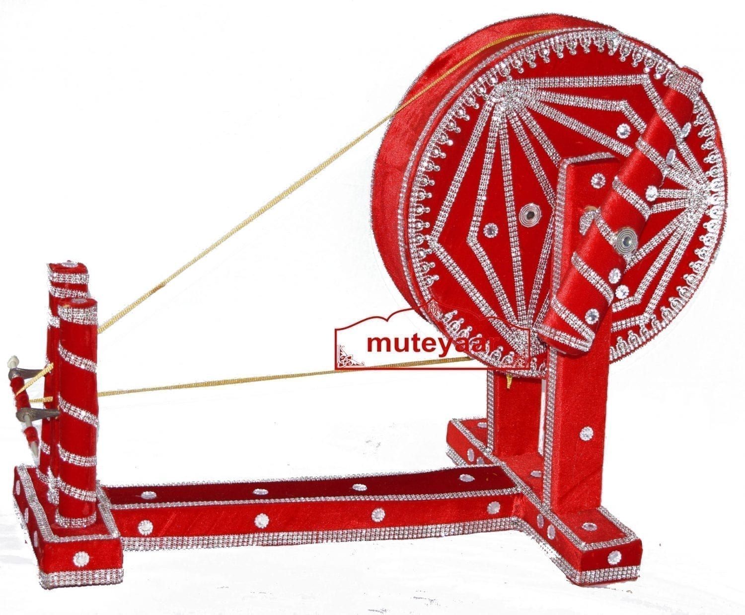 GIDDHA  prop - VELVET decorated CHARKHA (size 2.5 ft) 2