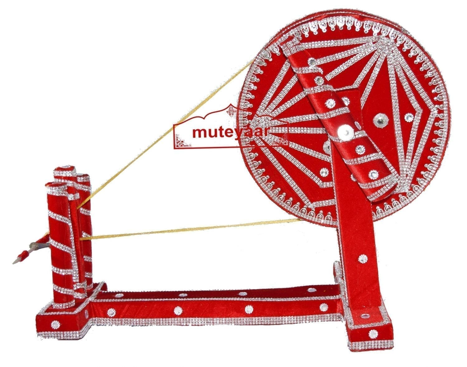 GIDDHA  prop - VELVET decorated CHARKHA (size 2.5 ft) 3