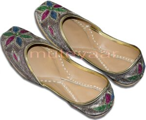 Dabka Work Embroidered hand made Punjabi Jutti Bridal Shoes PJ9744
