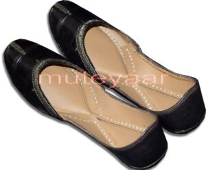 Black Pure Leather Fine Punjabi Jutti Party wear Shoes PJ9756