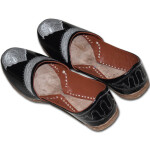 Black Handmade Leather Punjabi Jutti Shoes for MEN PJ9761