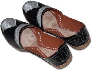 Black Handmade Leather Punjabi Jutti Shoes for MEN PJ9761