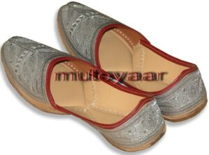 Silver Pure Leather Fine Punjabi Jutti Party wear Shoes PJ9762
