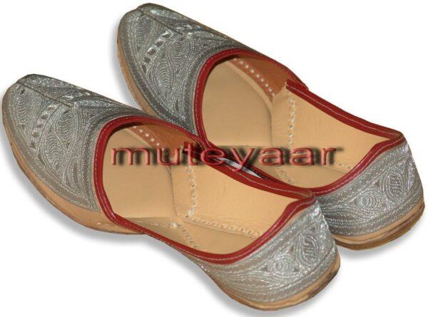 Silver Pure Leather Fine Punjabi Jutti Party wear Shoes PJ9762