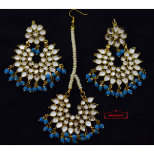 Kundan Work Punjabi Earrings Tikka set J0157
