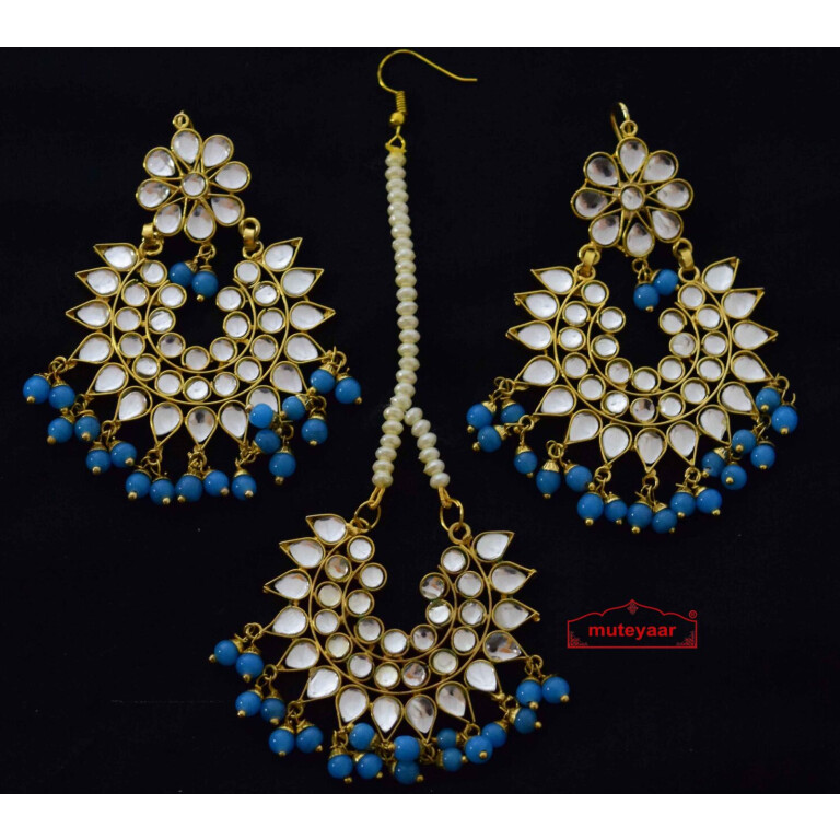 kundan work punjabi earrings tikka set J0157