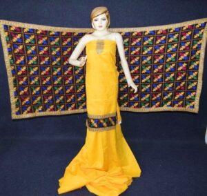 M/C Embroidered PHULKARI Cotton Salwar kameez suit Faux Chiffon Dupatta F0699