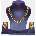 24 Ct. Gold Plated Traditional Punjabi chain set with Moti Beads J0134