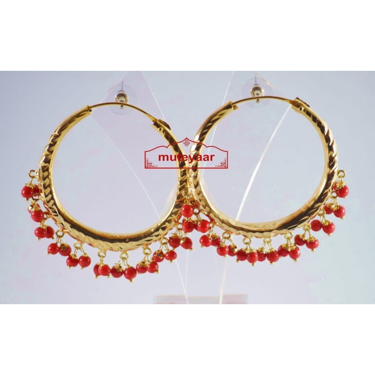 Red Beads Gold Polished Punjabi Traditional Jewellery Earrings Bali set J0140