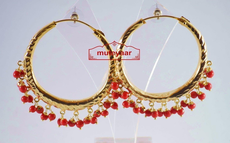 Red Beads Gold Polished Punjabi Traditional Jewellery Earrings Bali set J0140 1