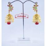 Jadau Gold Polished Traditional Punjabi Earrings set J0142